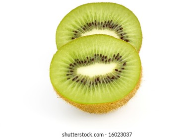 pieces of kiwi against white