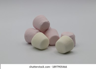 Pieces of marshmallow candy with white background