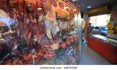 Pieces of meat are seen at a butcher's shop in Salvador (Brazil).After the problems pointed out in operation of the Federal Police, the consumers were worried about the consumption of meat.Mar 20,2017