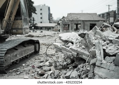 Pieces of Metal and Stone are Crumbling from Demolished