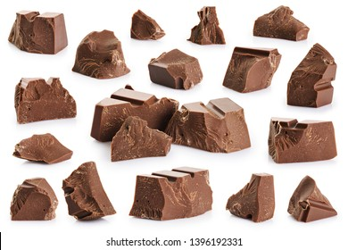 Pieces of milk chocolate isolated on white background. With clipping path.