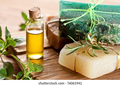 Pieces of natural soap with oil and spyces.