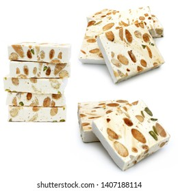 Pieces of nougat isolated on a white background