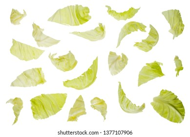 Pieces of Organic Cabbage on white background, Top view