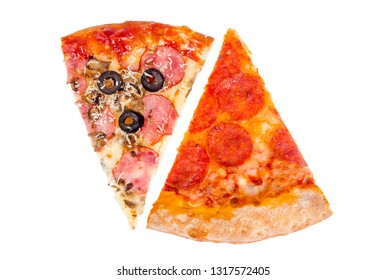 Pieces of pizza on white background. Studio Photo