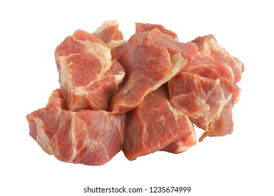 pieces of pork meat on white background