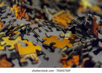 Pieces of the puzzle on the floor