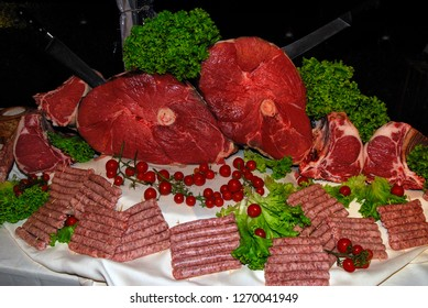 Pieces of raw meat of Chianina beef cut Florentine steak