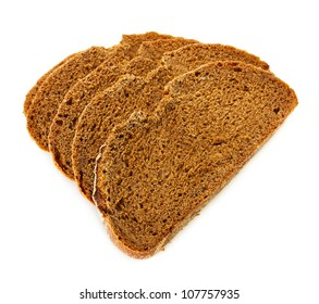 pieces of rye bread isolated on white background