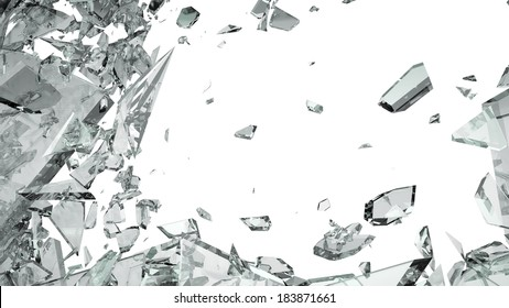 Pieces of shattered glass isolated on white. Large size