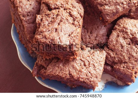 Pieces Simple Chocolate Cake On Beautiful Stock Photo Edit Now
