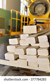 Pieces of soap on the assembly line at the plant for the production of soap