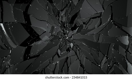 Pieces of splitted or cracked glass on black. Large resolution