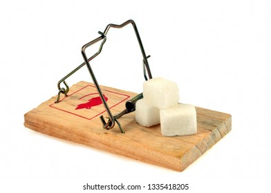 Pieces of sugar on a mousetrap on a white background