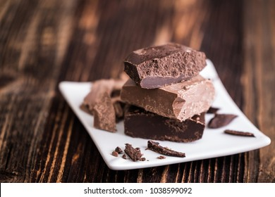 Pieces of tasty raw chocolate for cooking