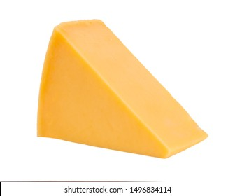 pieces of tasty yellow cheese isolated on white background