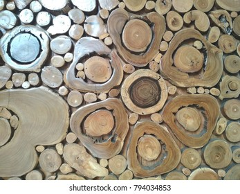 pieces of teak wood stump background