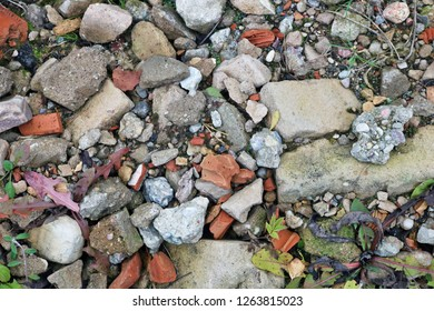 Pieces of the used broken concrete and bricks pollute the  forest surface background