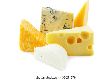 Pieces of various cheeses on white background