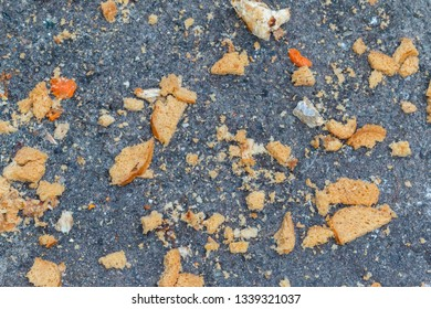 pieces of white bread lie on the asphalt, background. pieces of rye bread lying on the ground, selective focus. Feeding birds in the cold season