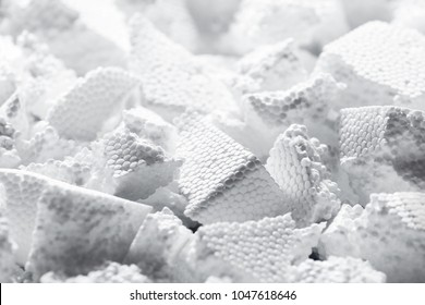 Pieces of white styrofoam close up