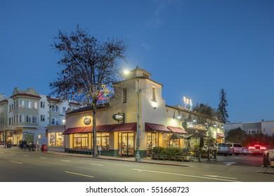PIEDMONT USA - Jan. 7, 2017: Piedmonts retro ice cream parlor at night on Piedmont Avenue in Oakland.