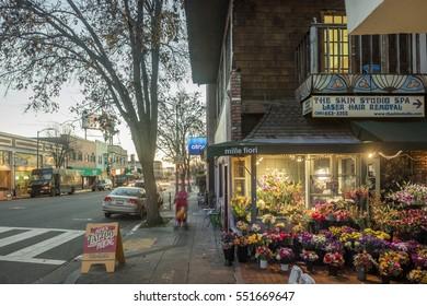 PIEDMONT USA - Jan. 7, 2017: Piedmont Avenue with flower shop in Oakland