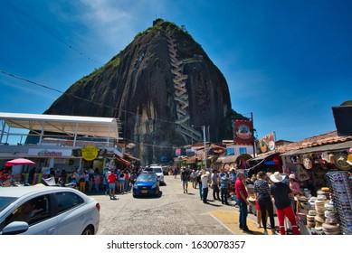 Piedra del Peñol / Guatape, Colombia - January 09, 2020: View at Rock of Guatape (Piedra Del Penol) from the lower level