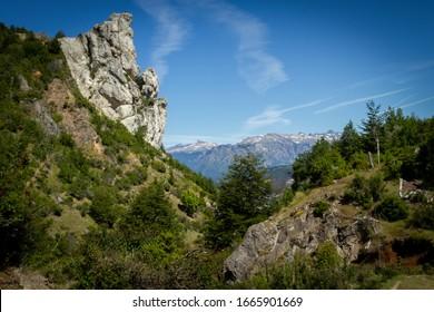 """""""Eagle Stone"""" (Piedra del águila), Futaleufú, located in the region of the lakes, Patagonia, chile, 2020."""