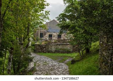 Piedrafita del Cebrero, Spain. Landscape in the rain