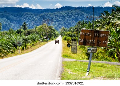 PIEDRAS BLANCAS - FEB 18, 2018: Road leading to Corcovado National Park in Costa Rica, Central America