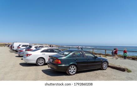 Piedras Blancas, San Simeon, California, August 1, 2020: People view the Elephant Seals
