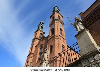Piekary Slaskie city in Upper Silesia (Gorny Slask) region of Poland. Neo-romanesque basilica of St Mary and St Bartholomew.