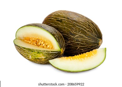 Piel de Sapo melons whole and sliced isolated on white Background
