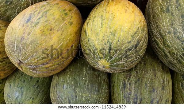 piel de sapo or Santa Claus melons closeup