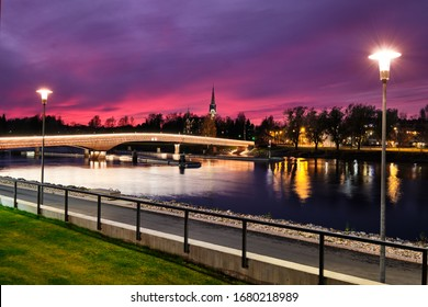 Pielisjoki River Embankment in the evening in Joensuu, Finland.