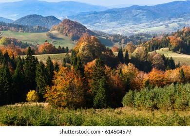 Pieniny Mountains in Autumn, Poland.