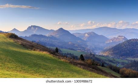 Pieniny Mountains at evening - autumn landscape