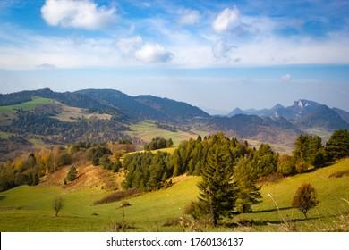 Pieniny Mountains and Three Crowns Massif at background. View from near Wysoki Wierch (Slachtovsky vrch) mountain toward west (Czerwony Klasztor, Cerveny klastor).
