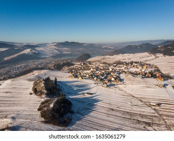 Pieniny Mountains winter droneview, Poland