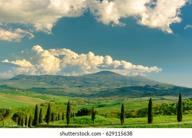 PIENZA, ITALY - APRIL 16, 2017 - View of the countryside of the Natural Area of  Val d'Orcia, near the famous town of Pienza.