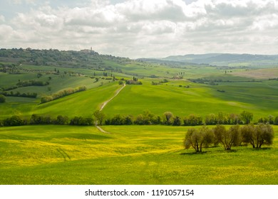 At Pienza - Italy - on april 2017 - landscape of tuscan countryside in val d'orcia