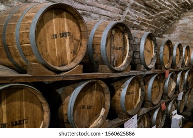 Pienza, Siena/Italy - Mar 20 2016: an aging cellar of the famous Vin Santo wine