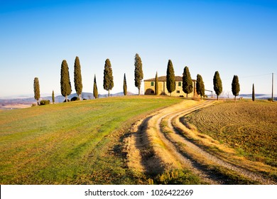 PIENZA, TUSCANY / ITALY - DECEMBER 20, 2015: Iconic farmland I Cipressini, italian cypress trees and rural white road in winter. Located in Siena countryside.