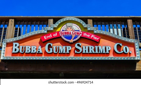 Pier 39, San Francisco, CA - Apr. 6, 2014: Bubba Gump Shrimp Co. is a family-friendly chain for seafood & American fare served in a fishing-boat-themed setting.