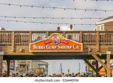 Pier 39, San Francisco, CA, USA, November 23, 2016: Bubba Gump Shrimp Co. is a family friendly chain for seafood and American fare served in a fishing boat themed setting.