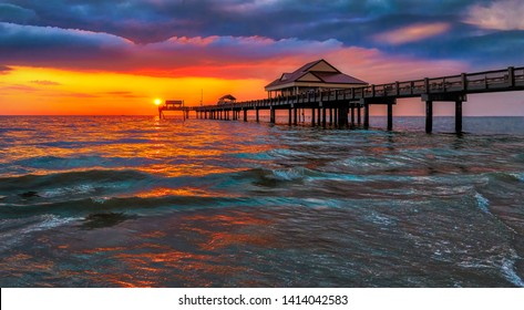 Pier 60 in Clearwater Beach at sunset in summertime.