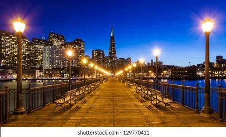 Pier 7 panorama in San Francisco at night.