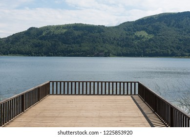 Pier to the Abant lake and mountain on the background