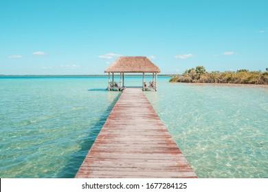 Pier in Bacalar Lagoon, near Cancun in Riviera Maya, Mexico